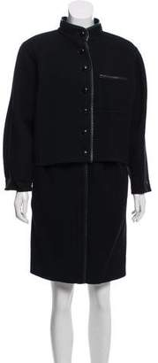 Christian Dior Leather Trimmed Wool Skirt Suit