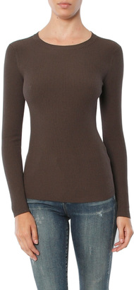 Minnie Rose Skinny Rib Long Sleeve Crew $194 thestylecure.com