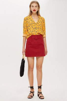 Topshop Red Denim A-Line Skirt