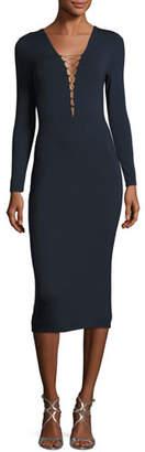 Alexander Wang Lace-Up Long Sleeve Midi Dress, Navy