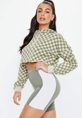 Missguided Green Co Ord Printed Checkerboard Cropped Hoodie