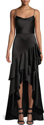 Alice + Olivia Lauralei Ruffle High-Low Gown