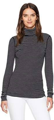 Three Dots Women's Tahoe Stripe L/s Turtleneck Tight Short Shirt