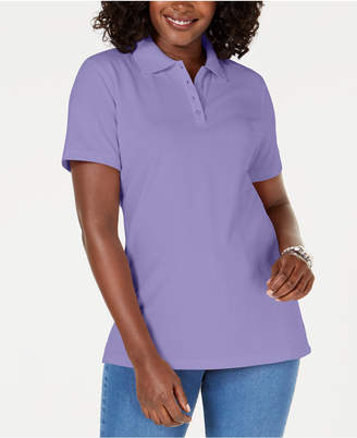 Karen Scott Petite Pique Cotton Polo Top