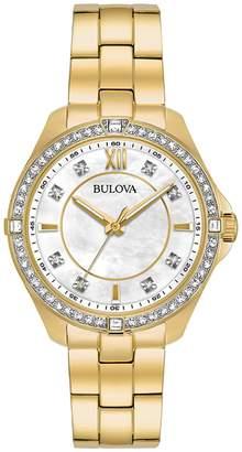 Bulova Women's Goldtone Stainless Crystal Bracelet Watch