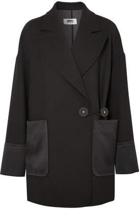 MM6 MAISON MARGIELA Satin And Leather-trimmed Twill Blazer - Black