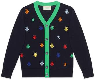 Gucci Children's bees and stars jacquard merino cardigan