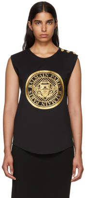 Balmain Black Coin Sleeveless T-Shirt