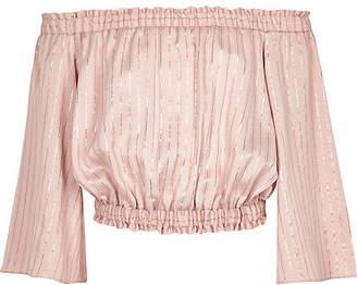 River Island Girls Pink metallic stripe bardot top