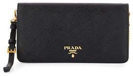 Prada Saffiano Flap Phone Wristlet Wallet w/ Crossbody Strap $725 thestylecure.com