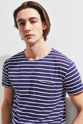 Urban Outfitters Nautical Blue Stripe Scoop Neck Curved Hem Tee