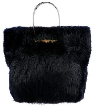 Balenciaga Small Cable Fur Shopper Tote
