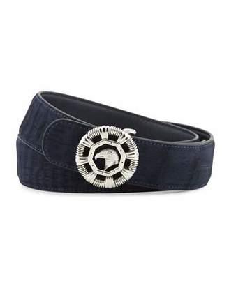 Stefano Ricci Eagle-Head Crocodile Belt, Blue $2,825 thestylecure.com