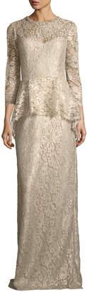 Rickie Freeman For Teri Jon Lace Applique Long Peplum Three-Quarter Sleeve Gown