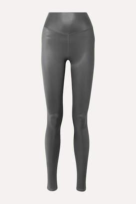Alo Yoga Shine Metallic Stretch Leggings - Gunmetal