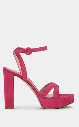 Gianvito Rossi Women's Poppy Suede Platform Sandals - Md. Pink
