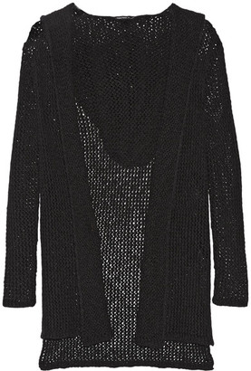 James Perse - Hooded Open-knit Cotton And Linen-blend Cardigan - Black $395 thestylecure.com