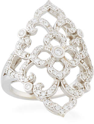 Penny Preville 18k White Gold Diamond Lace Ring, Size 6