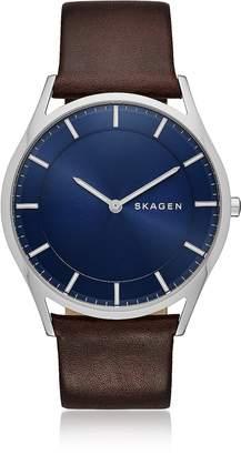 Skagen Holst Slim Dark Brown Leather Men's Watch