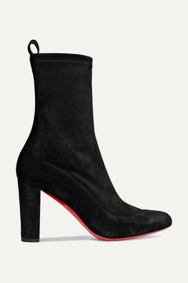 Christian Louboutin Gena 85 Suede Ankle Boots - Black