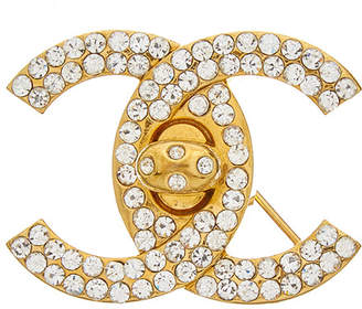 Chanel Gold-Tone & Crystal Cc Small Turnlock Pin