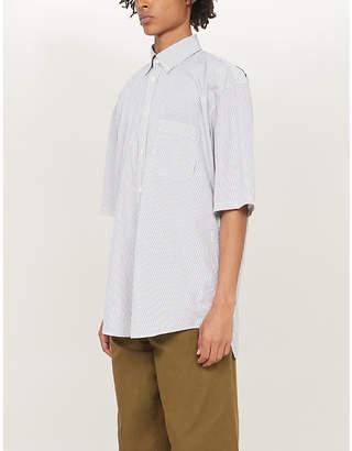 Balenciaga Logo-print striped regular-fit cotton shirt