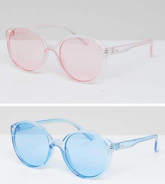 Asos 2 Pack Plastic Round Sunglasses In Coloured Lens