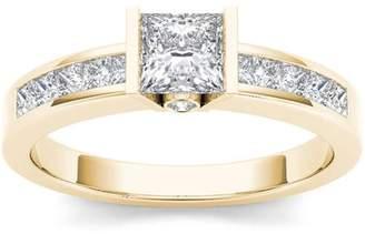 Imperial Diamond Imperial 1 Carat T.W. Diamond Princess-Cut Half-Bezel Classic 14kt Yellow Gold Engagement Ring