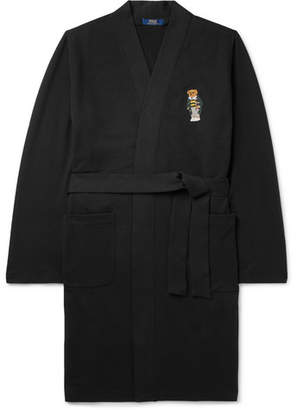Polo Ralph Lauren Embroidered Stretch Cotton-blend Jersey Robe