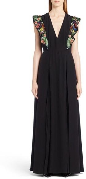 Women's Fendi Embellished Ruffle Gown