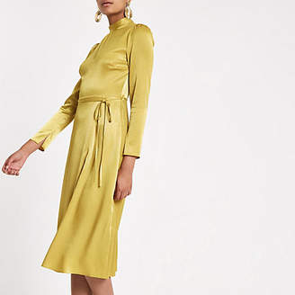 River Island Yellow tie waist long sleeve midi dress