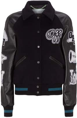 Off-White Off White Wool-Leather Varsity Patch Jacket