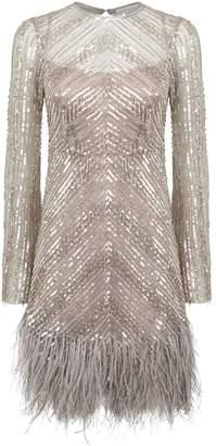 Rachel Gilbert Eugenie Feather Trimmed Mini Dress