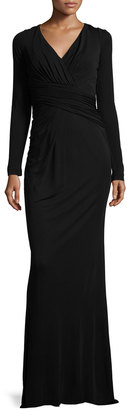 Badgley Mischka Long-Sleeve Draped-Waist Jersey Gown, Black $299 thestylecure.com