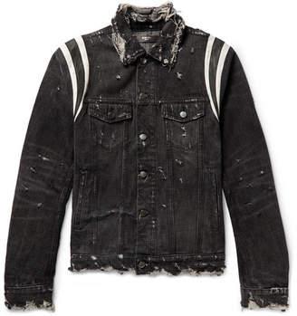 Amiri Slim-Fit Leather-Trimmed Distressed Stretch-Denim Jacket