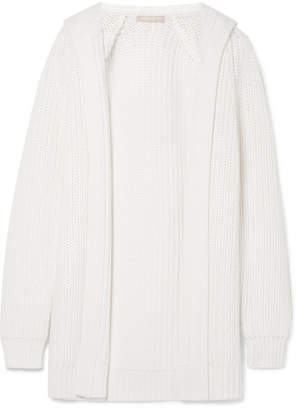 Michael Kors Collection - Ribbed Merino Wool And Cotton-blend Hooded Cardigan - White