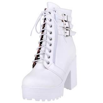 3ca96bc2f03 Artfaerie Womens Block High Heel Ankle Boots Platform Hi-Top Buckle Booties  Lace Up Faux