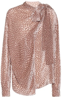 Petar Petrov Baxley flocked velvet silk-blend blouse
