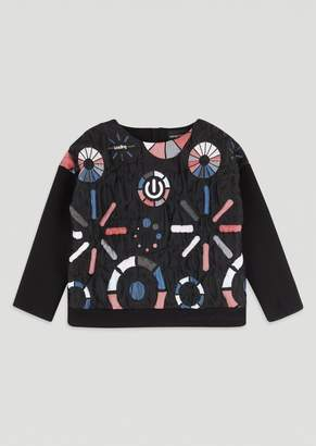 "Emporio Armani Loading"" Sweatshirt In All-Over Embroidered Quilted Fabric"