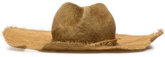 Ann Demeulemeester nude distressed straw hat
