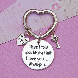 IndiviJewels Handmade Personalised Silver Heart Key Ring