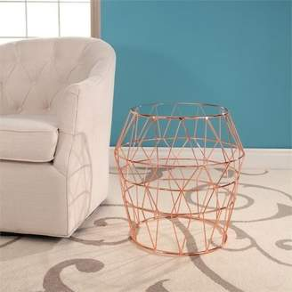 Abbyson Living Ava Glass Top Stainless Steel End Table