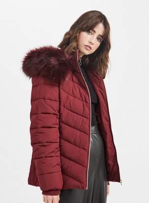 Miss Selfridge Burgundy hooded puffer coat