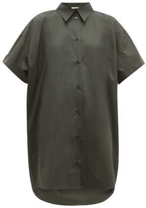 MM6 MAISON MARGIELA Dropped Hem Cotton Poplin Shirt Dress - Womens - Dark Green