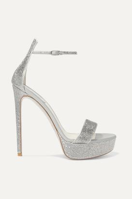 Rene Caovilla Celebrita Crystal-embellished Satin Platform Sandals - Silver