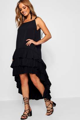 boohoo Petite Drop Ruffle Hem Beach Dress