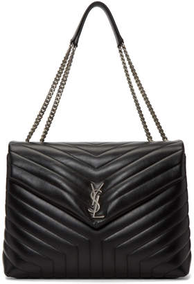 Saint Laurent Black Large Lou Lou Monogramme Chain Bag
