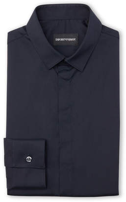 Emporio Armani Tonal Cutaway Collar Long Sleeve Dress Shirt