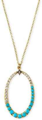 Armenta Old World Diamond & Turquoise Oval Pendant Necklace