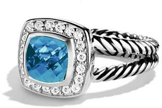 David Yurman Petite Albion Ring with Blue Topaz & Diamonds